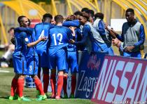 Players of France celebrate scoring during the Uefa U17 Euro 2017 match between France and Faroe Islands in Zagreb on May 6 2017