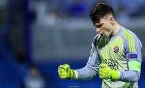 Dominik Livakovic celebrates during the Europan League match between Dinamo Zagreb and Benfica in Zagreb on March 7th, 2019.