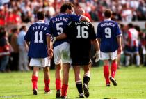 France's goalscorer Laurent Blanc (left) celebrates at the end of the game with teammate Fabien Barthez (right) during the World Cup match between France and Paraguay on 28th June 1998 in Lens