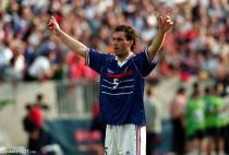 France's goalscorer Laurent Blanc celebrates at the end of the game during the World Cup match between France and Paraguay on 28th June 1998 in Lens