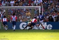 Laurent Blanc of France (right) scores the winning goal in the 'Golden goal' extra time period during the World Cup match between France and Paraguay on 28th June 1998 in Lens