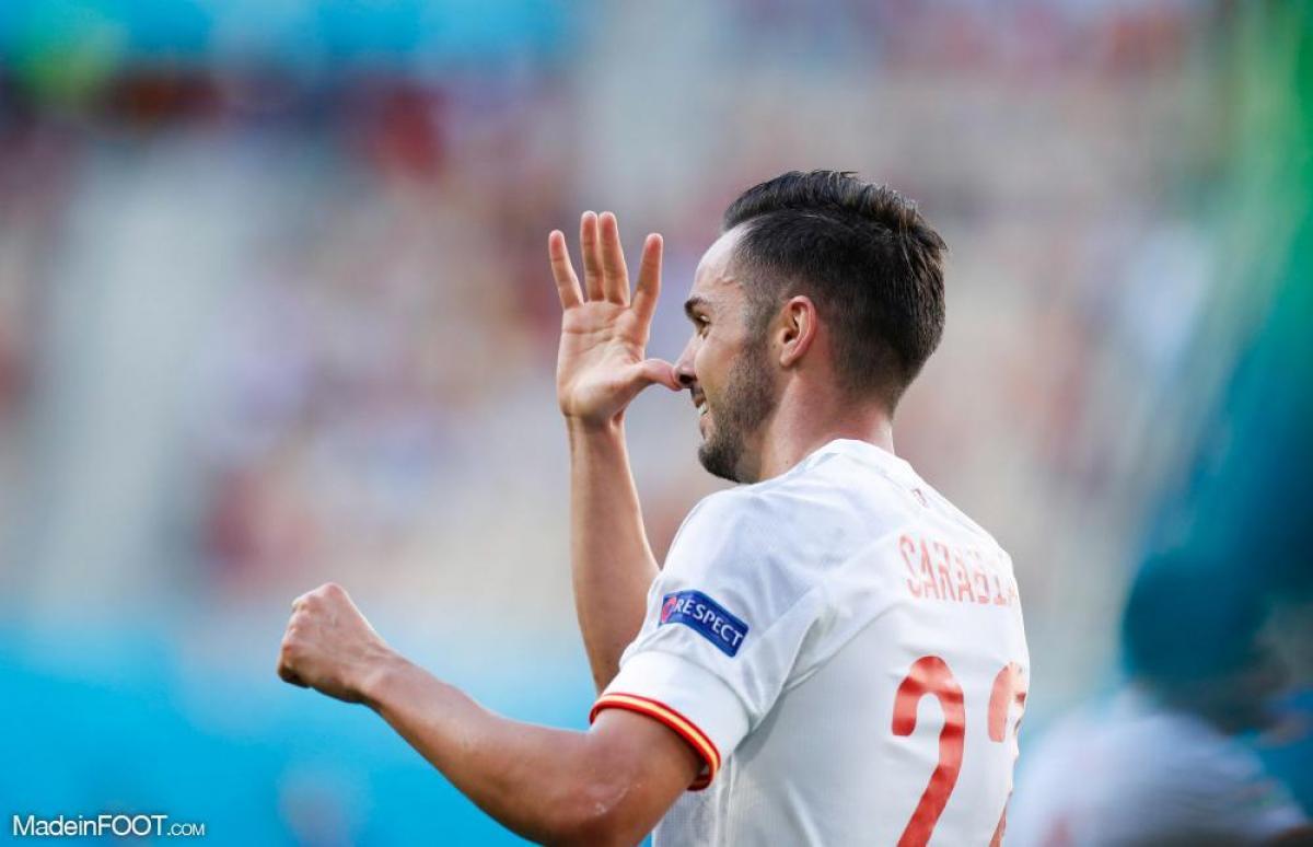 Sarabia célèbre son but face à la Slovaquie