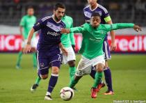 Anderlecht's Nicolae Claudiu Stanciu and Saint-Etienne's Arnaud Nordin fight for the ball during the sixth and last game in the group stage (group C) of the UEFA Europa League competition between Belgian soccer club RSC Anderlecht and French club AS Saint