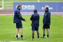 Laurent BLANC  / Claude MAKELELE / Jean Louis GASSET - 03.07.2013 - Entrainement du Paris Saint Germain -Centre Technique du Football -Clairefontaine-