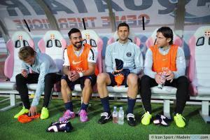 Clement CHANTOME / Ezequiel LAVEZZI / Thiago MOTTA / Maxwell SHERRER - 22.08.2014 - Evian Thonon / Paris Saint Germain - 3eme journee de Ligue 1 -
