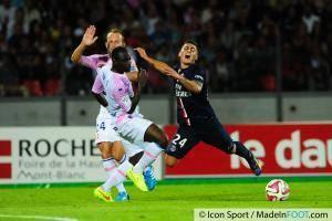 Djakaridja KONE / Marco VERRATTI - 22.08.2014 - Evian Thonon / Paris Saint Germain - 3eme journee de Ligue 1 -