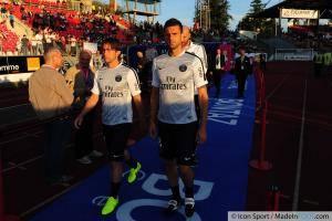 Maxwell SHERRER / Thiago MOTTA - 22.08.2014 - Evian Thonon / Paris Saint Germain - 3eme journee de Ligue 1 -