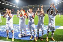 Joie Lyon - Milan BISEVAC / Maxime GONALONS / Christophe JALLET / Henri BEDIMO - 26.10.2014 - Lyon / Marseille - 11eme journee de Ligue 1 -