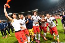 Joie PSG Champion - Edinson CAVANI / MARQUINHOS / Nicolas DOUCHEZ / Thiago SILVA - 16.05.2015 - Montpellier / Paris Saint Germain - 37eme journee de Ligue 1