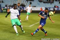 Mustapha Bayal Sall and Gael Danic during the Ligue 1 between Bastia and Saint-Etienne at Stade Armand Cesari, Bastia, France on 16th April, 2016