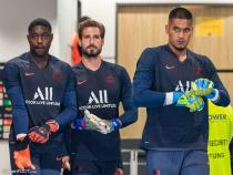 The Paris goalkeepers Alphonse Areola and Kevin Trapp and Garissone Innocent during the friendly match between Dynamo Dresden and Paris Saint Germain on 16th July 2019