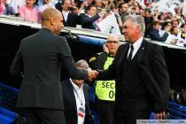 Josep Guardiola / Carlo Ancelotti - 23.04.2014 - Real Madrid / Bayern Munich - 1/2Finale Aller Champions League