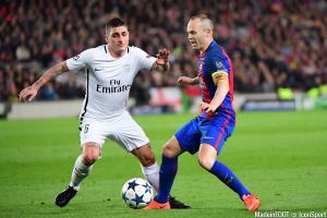 Verratti (PSG) et Iniesta (FCB)