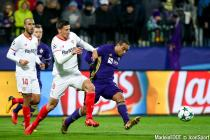 Clement Lenglet (Sevilla) and Marcos Tavares (Maribor) during the Uefa Champions League match between  Maribor and  Sevilla FC on December 06, 2017