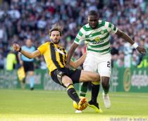 Celtic's Odsonne Edouard (right) and AEK Athens Marious Oikonomou during the Champions League Qualification match between Celtic Glasgow and AEK Athens in Glasgow on august 8th, 2018.