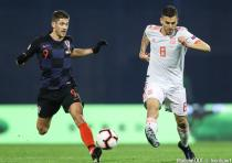 Andrej Kramaric and Dani Ceballos during the Nations League match between Croatia and Spain in Zagreb on November 15th, 2018.