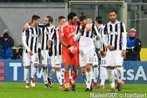 Team of Juventus celebrates during Italian Serie A match between ACF Fiorentina and Juventus F.C. at Artemio Franchi Stadium in Florence on February 9 2018.